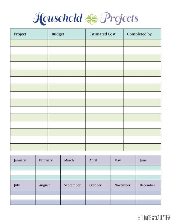 Household project planner for Home project planner