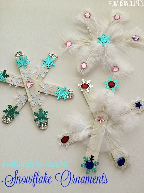 Invitation to create snowflake ornaments. An easy Christmas snowflake craft for kids.
