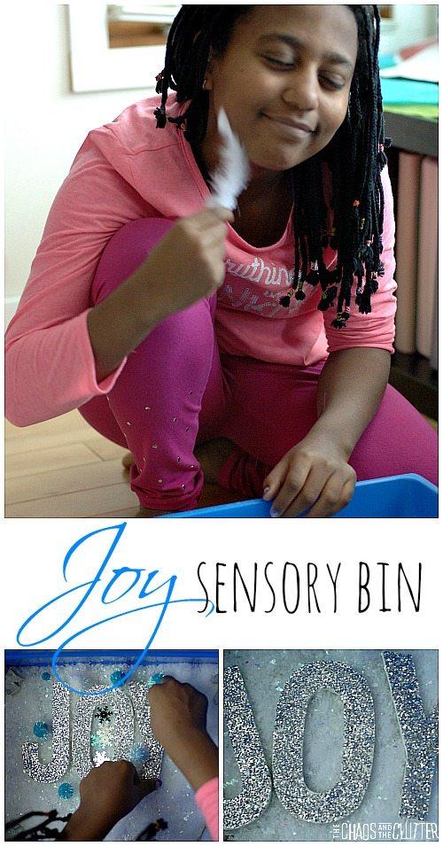 Joy Sensory Bin for sensory play over the Christmas holidays