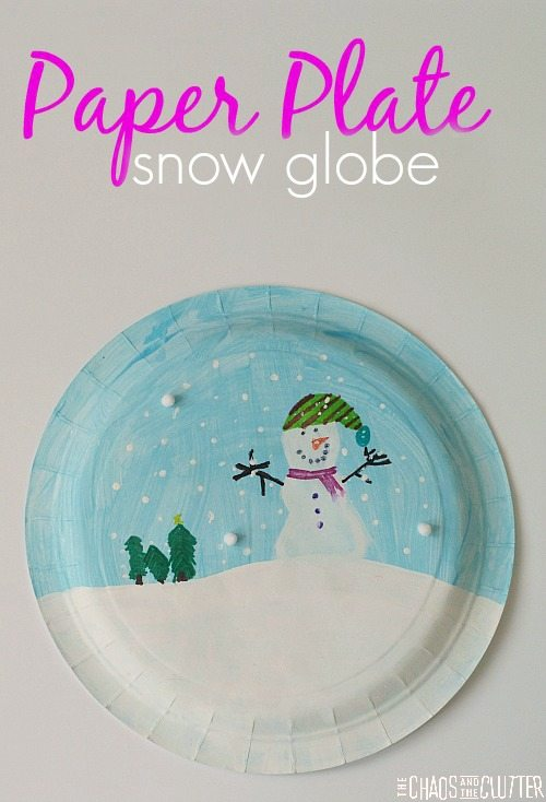 Paper plate snowglobe craft for Snow globe craft for kids