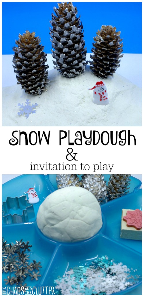 Snow playdough and invitation to play