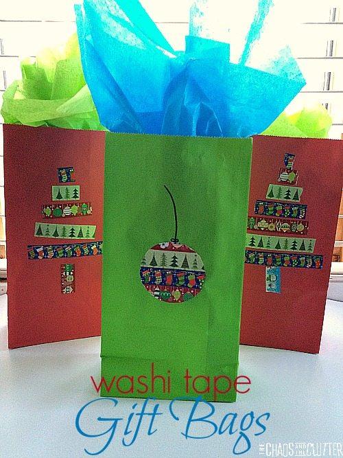 Washi Tape Gift Bags for Christmas