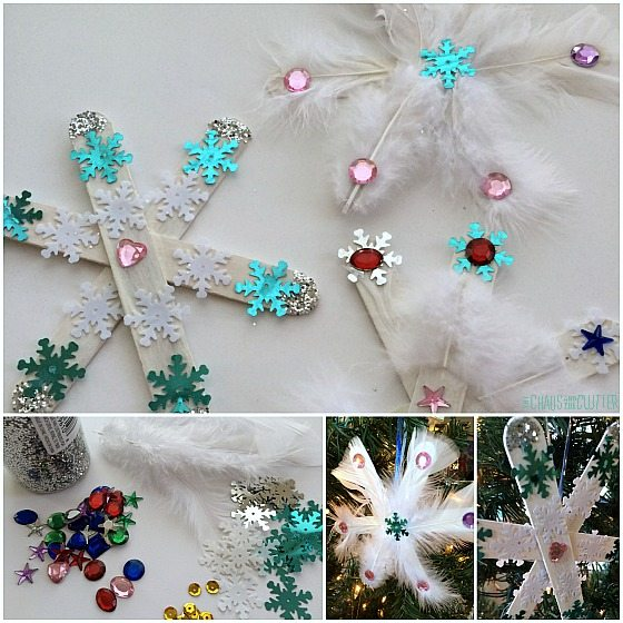 snowflake craft using simple craft supplies at home or in school
