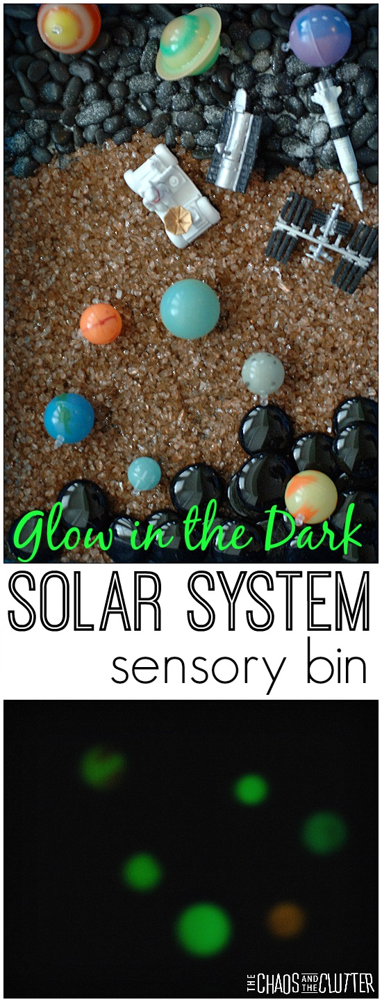 Glow in the Dark Solar System sensory bin