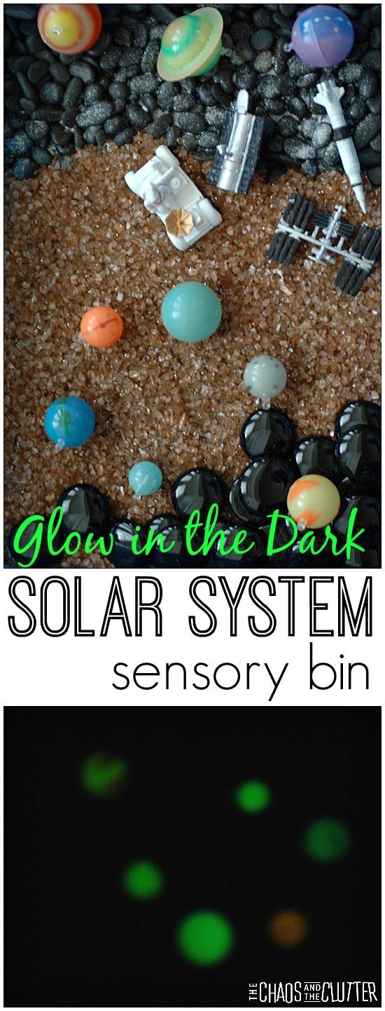 Glow in the Dark Solar System sensory bin