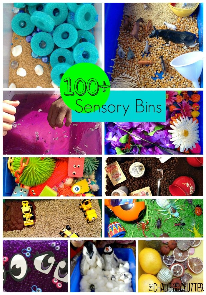 More than 100 Sensory Bin ideas to inspire you from The Chaos and The Clutter