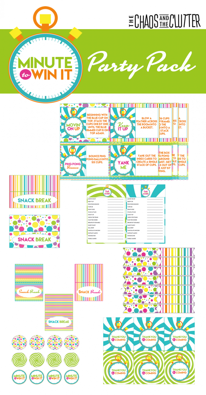 Minute to Win It Printable Party Pack