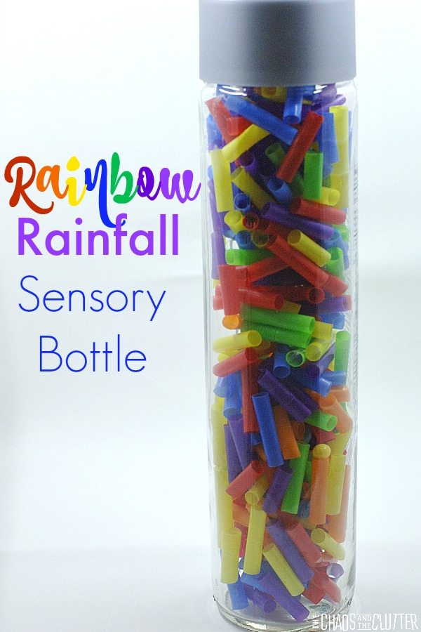 Rainbow Rainfall Sensory Bottle - This discovery bottle is easily made with straws and beads.