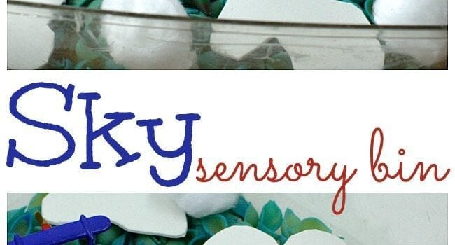 This Sky sensory bin is perfect for flight units or for kids who want to explore and use their imaginations.