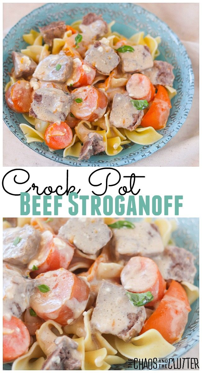 This simple slow cooker beef stroganoff is a hearty meal that includes vegetables and is served over egg noodles.