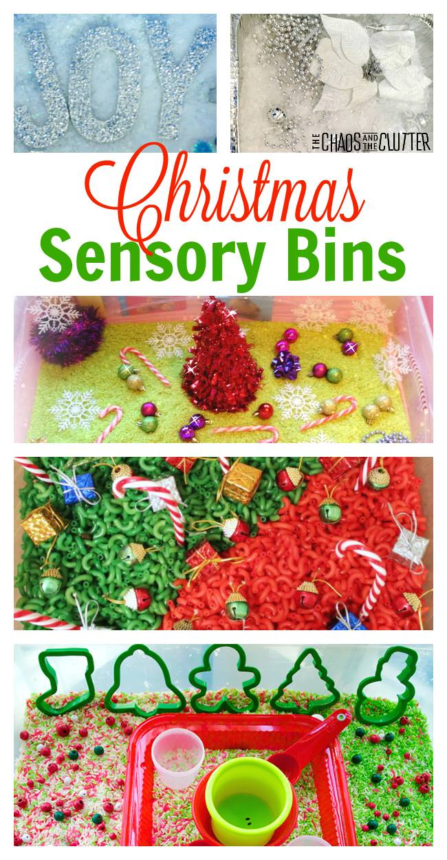 Fantastic ideas for Christmas sensory bins to inspire you to create your own.