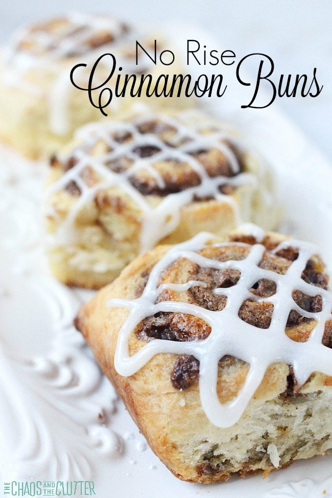 These easy no rise cinnamon buns are perfect for last minute guests or for Christmas morning. 30 minutes including bake time!!!