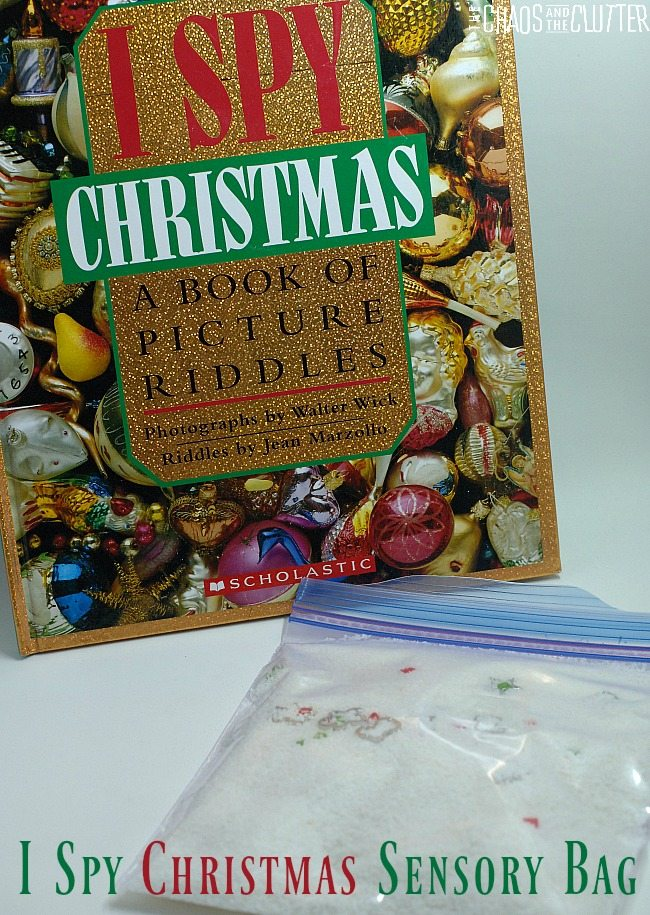 I Spy Christmas Sensory Bag based on the I Spy Christmas book