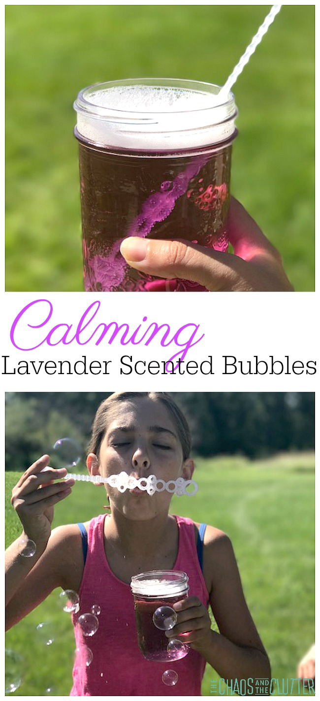 These lavender scented bubbles provide a wonderful calming technique for kids.