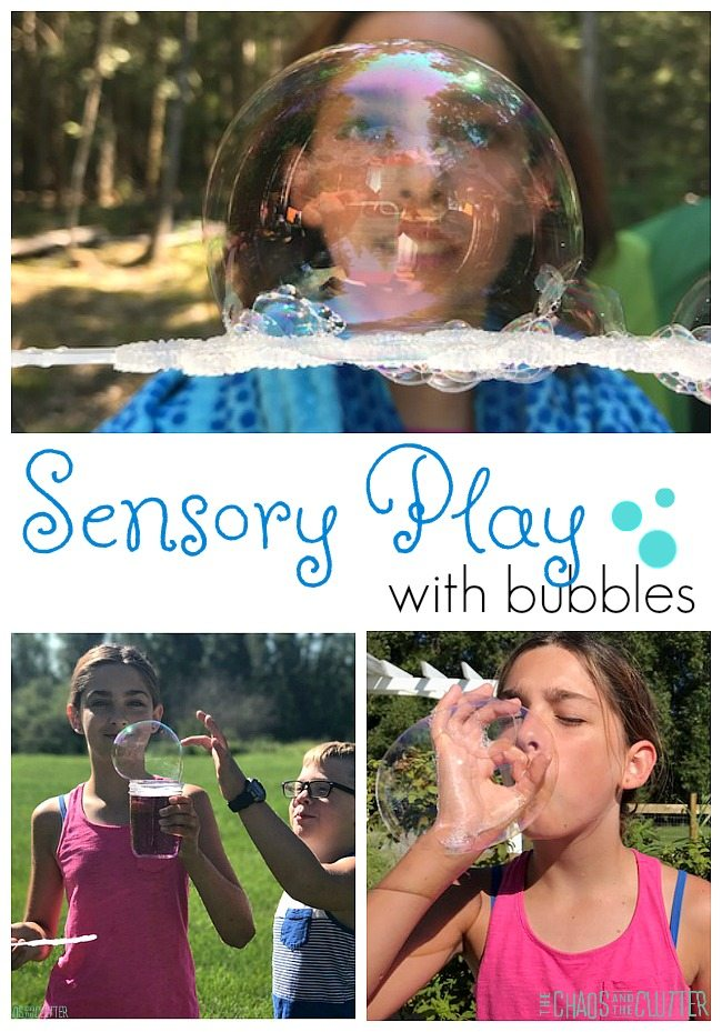 Sensory Play with bubbles including ideas for sensory input for vestibular, proprioception, auditory, visual, oral, olfactory, and tactile sensory systems.