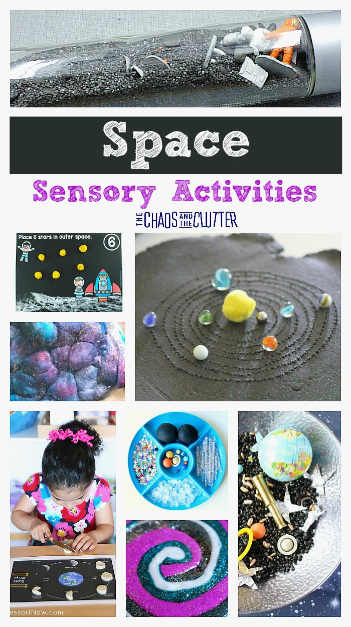 These space sensory activities are a great way to supplement a unit on the solar system or just to inspire individual discovery while engaging all the senses.