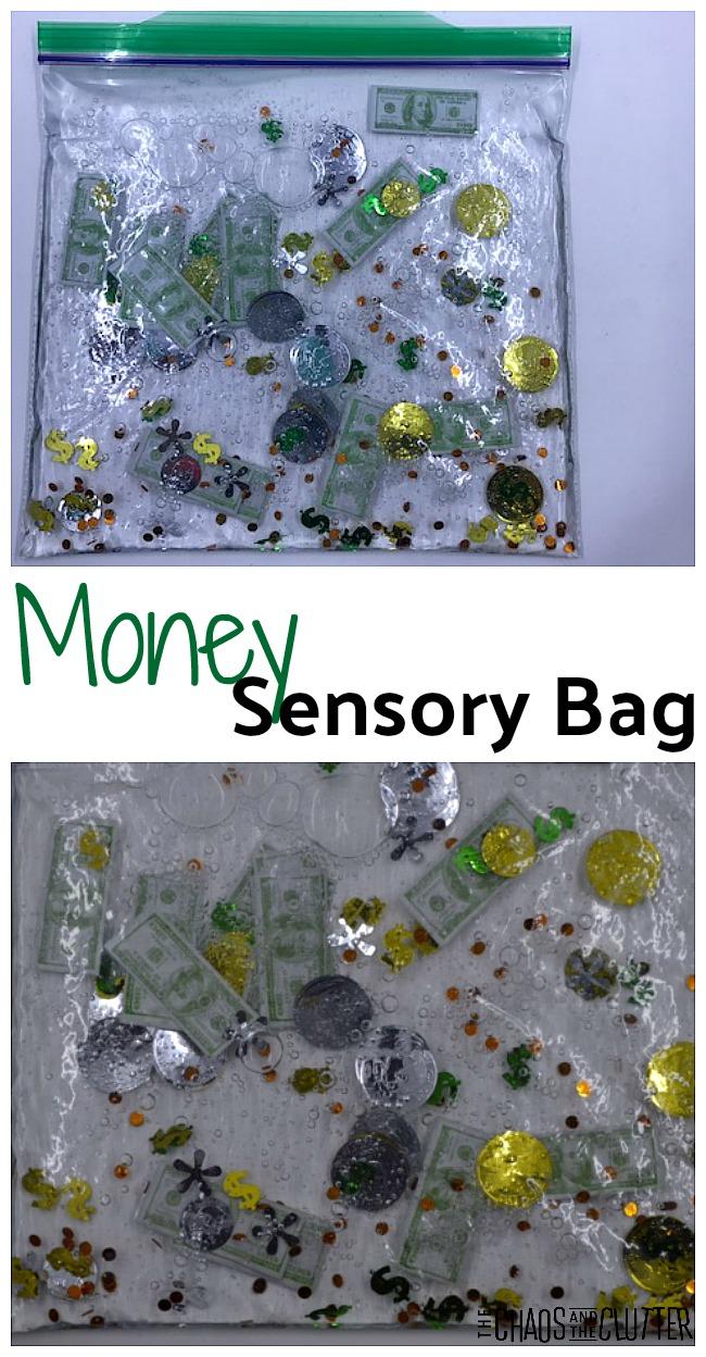 Money Sensory Bag - great addition to a unit study #math #sensory