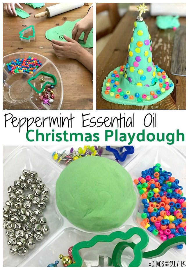 Peppermint Essential Oil Christmas Playdough invitation to create #playdough #playdoughfun #playdoughrecipe #sensoryplay