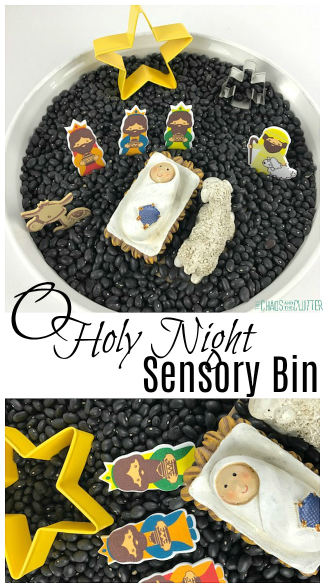 O Holy Night Nativity Sensory Bin #sensoryplay #sensorybin #sensory