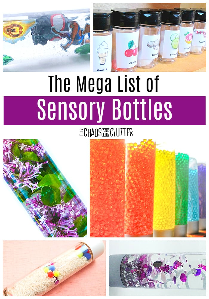 Sensory bottles serve a variety of purposes: exploration, discovery, sensory input, and calming. This mega list of sensory bottles has so many ideas! #sensoryplay #sensorybottles
