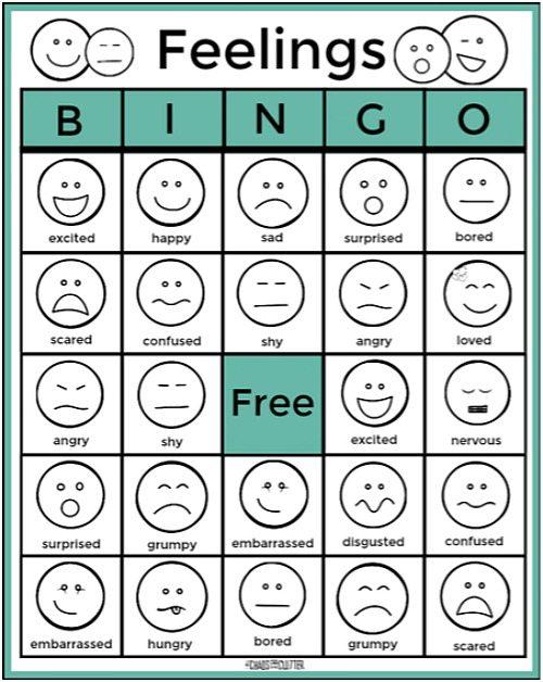 Feelings Bingo on Bingo Cards