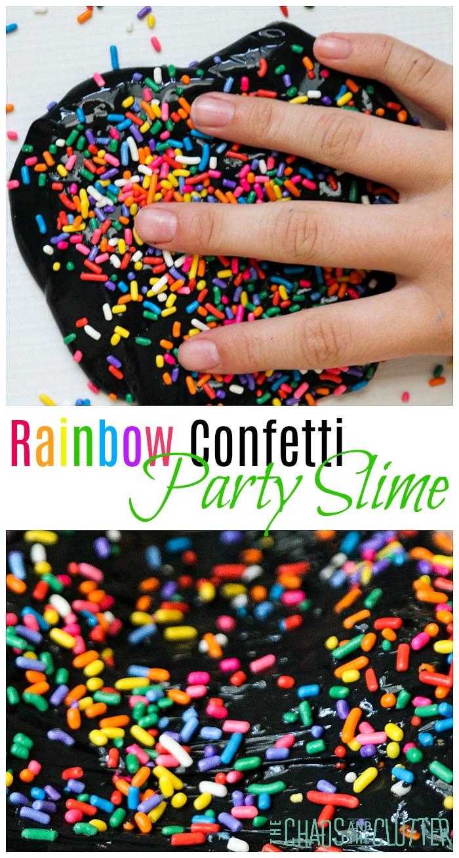 Rainbow Confetti Party Slime #slime #sensoryplay #slimerecipe #kidsactivities
