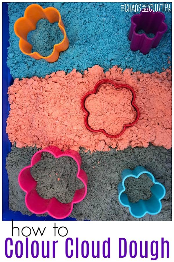 How to Colour Cloud Dough #sensoryplay #clouddough #kidsactivities