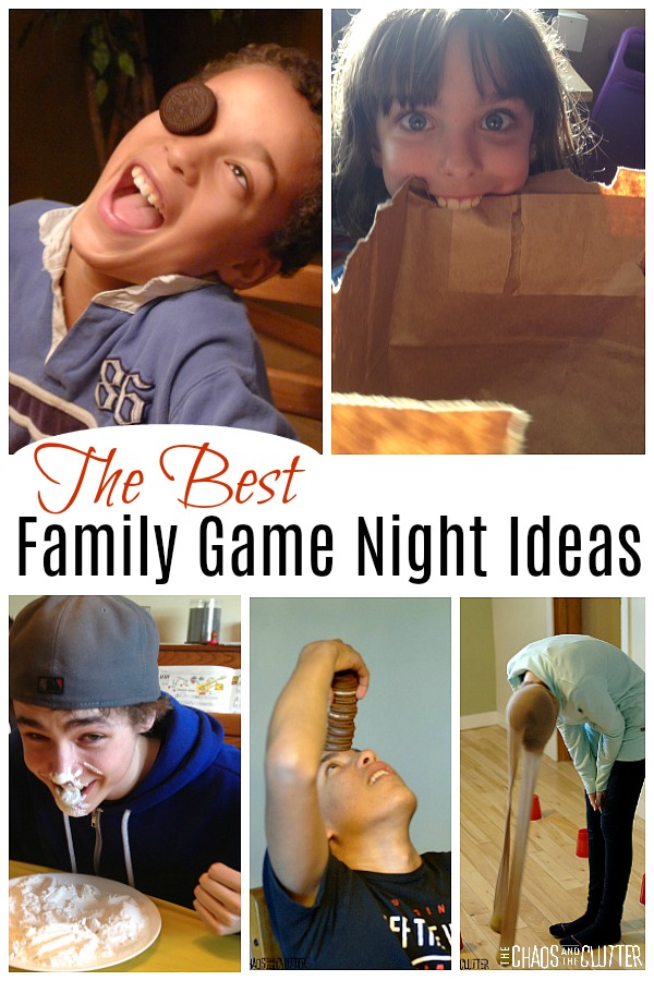 "The image contains a collage of 5 photos and the words ""the best family game night ideas"". The pictures include a boy with his nose and mouth covered in flour sitting over a plate of flour, a boy with a stack of Oreo type cookies stacked on his forehead, a girl wearing a light green shirt with a pair of panty hose on her head with a tennis ball in the end of each as she swings her head from side to side trying to knock over red cups on the floor, a smiling blue eyed girl holding a paper bag between her teeth, and a curly haired boy with an Oreo on one of his eyes."