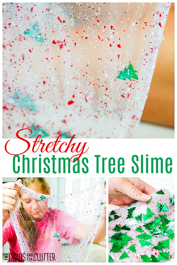 Stretchy Slime #sensoryplay #slimerecipes #slime #holidayslime #Christmasslime