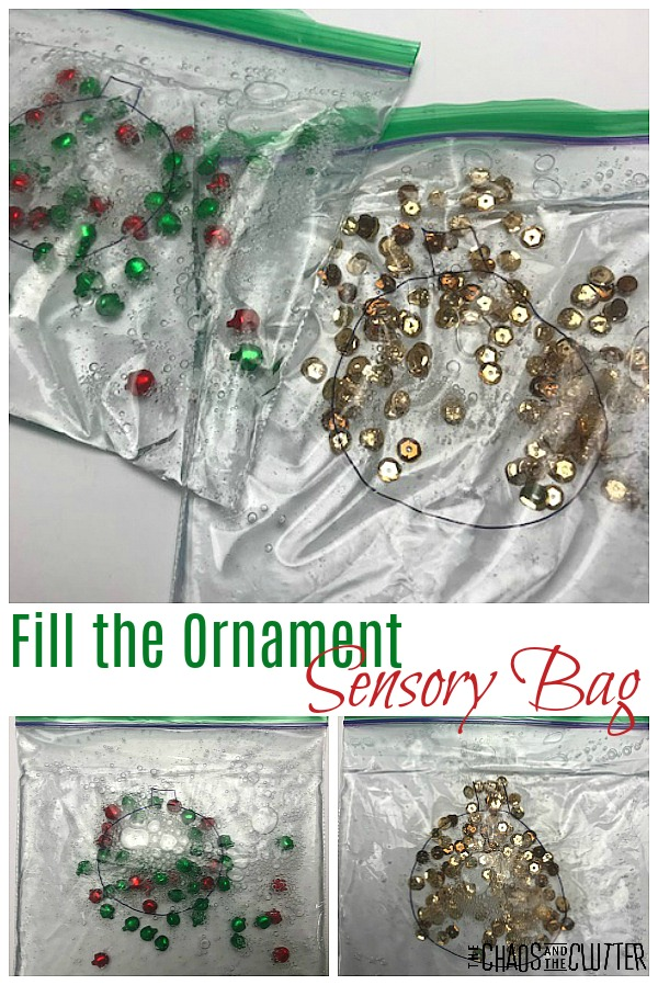 Fill the Ornament Christmas Sensory Bag sensory and fine motor activity #finemotor #Christmassensory #sensoryplay #holidayactivities #kidsactivities #sensorybag