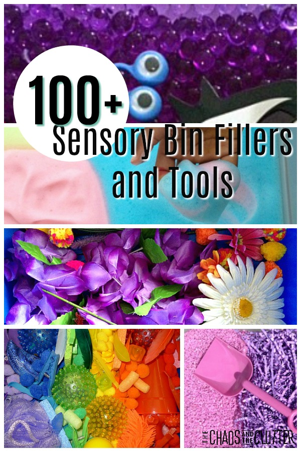 More than 100 Sensory Bin Fillers and Tools - so many ideas here! #sensoryplay #sensorybins #preschool #kidsactivities #sensoryactivities