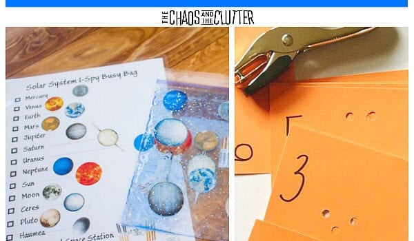 "A collage of 7 photos and the words ""Sensory Busy Bags"". The photos include a blue, yellow, and black Minion made of felt, nuts and bolts with wooden blocks, multicoloured sponges being stacked by a small hand, a hole punch and orange cards, a solar system sensory bag with a printable sheet of the planets, a girl's hands sewing yarn into a paper plate, and multiple colours of textured cards"