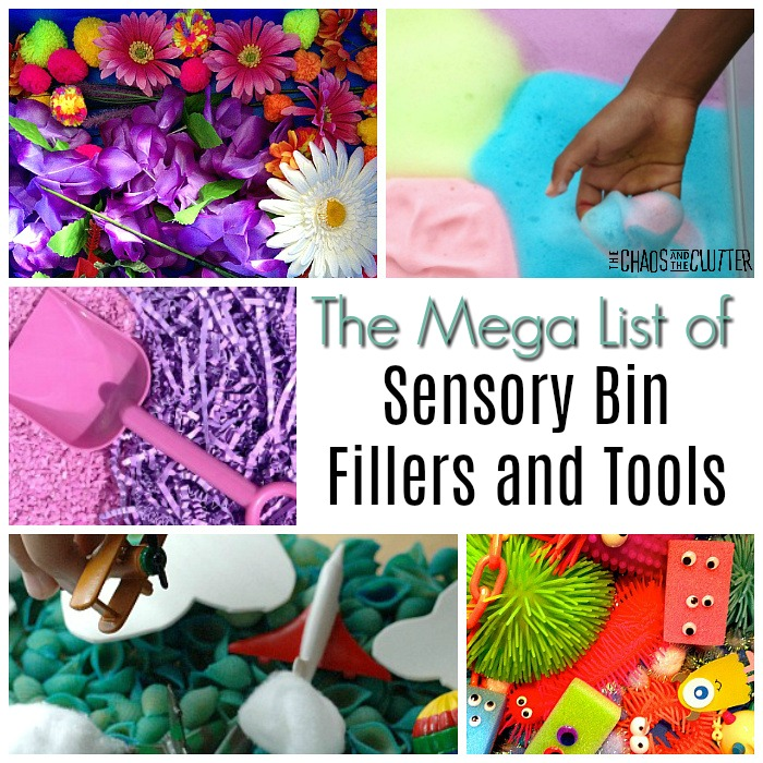 collage of bright coloured sensory bins