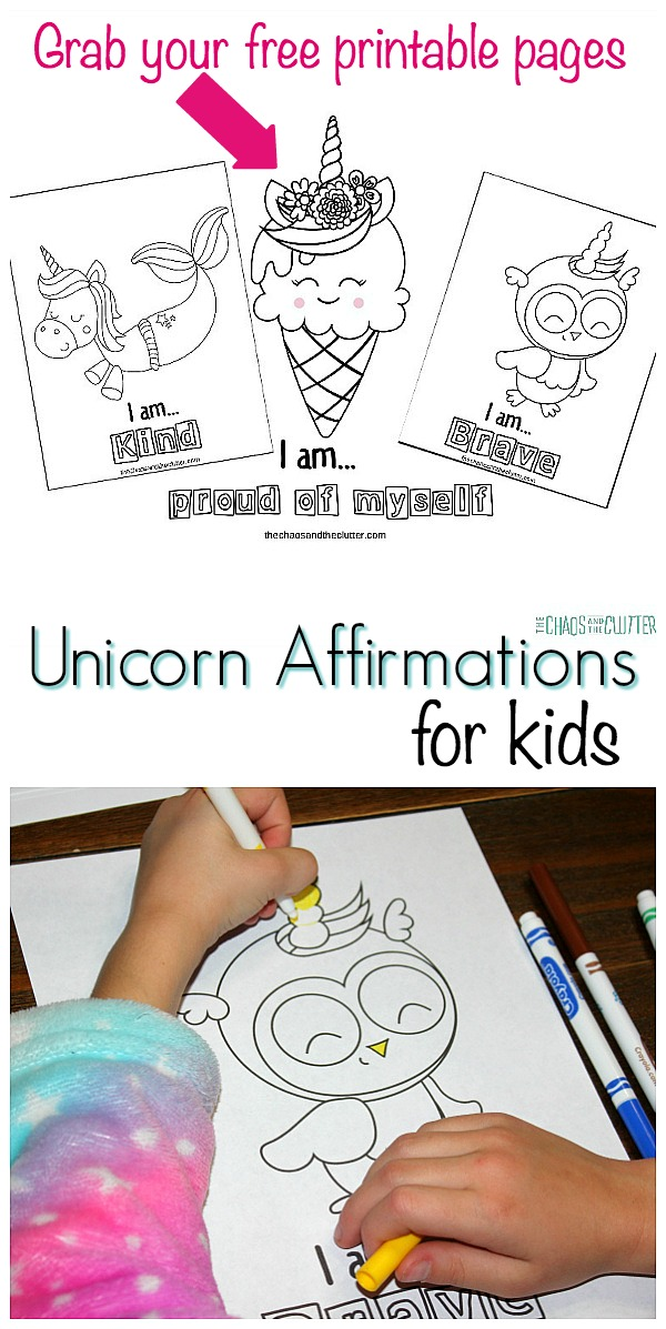 Unicorn Affirmations printables for kids #mindset #growthmindset #unicorns #positiveaffirmations #affirmations