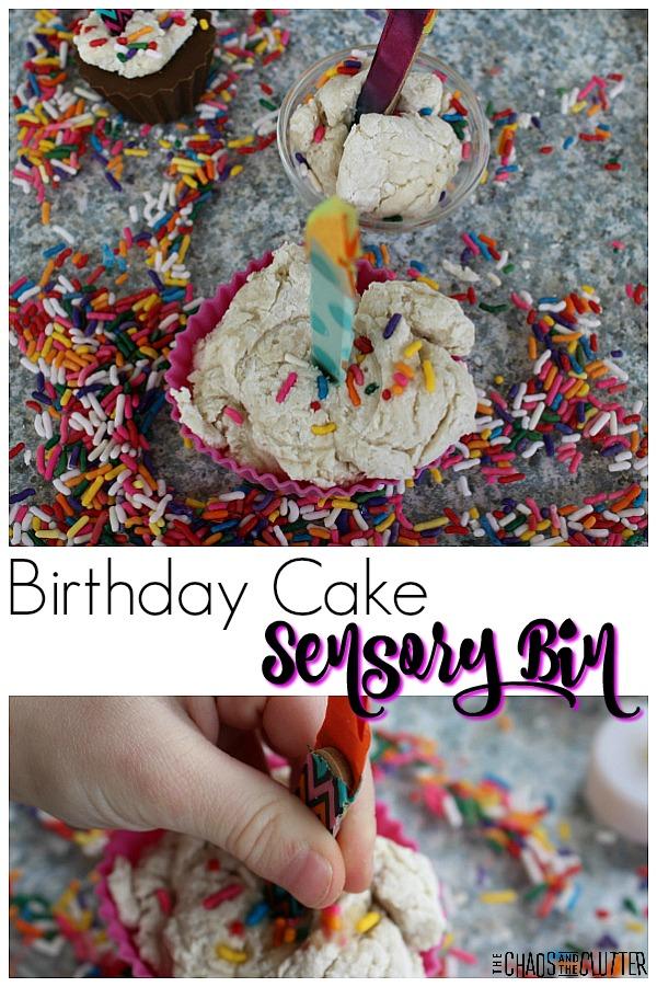 Birthday Cake Sensory Bin #sensorybins #sensoryplay #sensory #kidsactivities