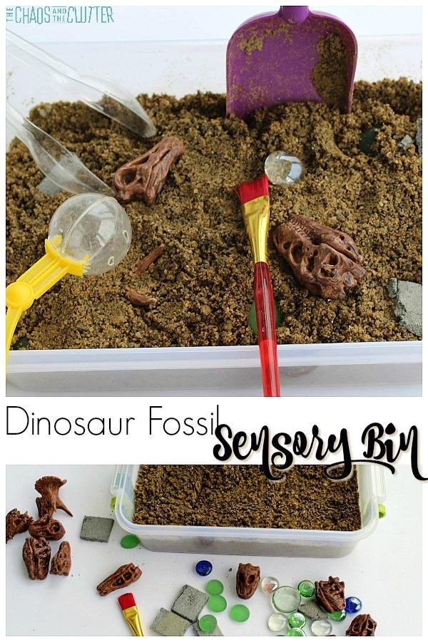 Dinosaur Fossil Sensory Bin #science #sensoryplay #sensorybins #sensory #kidsactivities