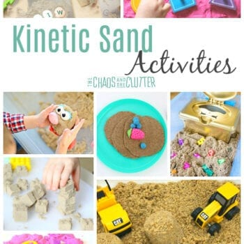 "a collage of photos demonstrating different activities using kinetic sand including stamping, stacking, shaping, and building. The words ""kinetic sand activities"" are on the image."