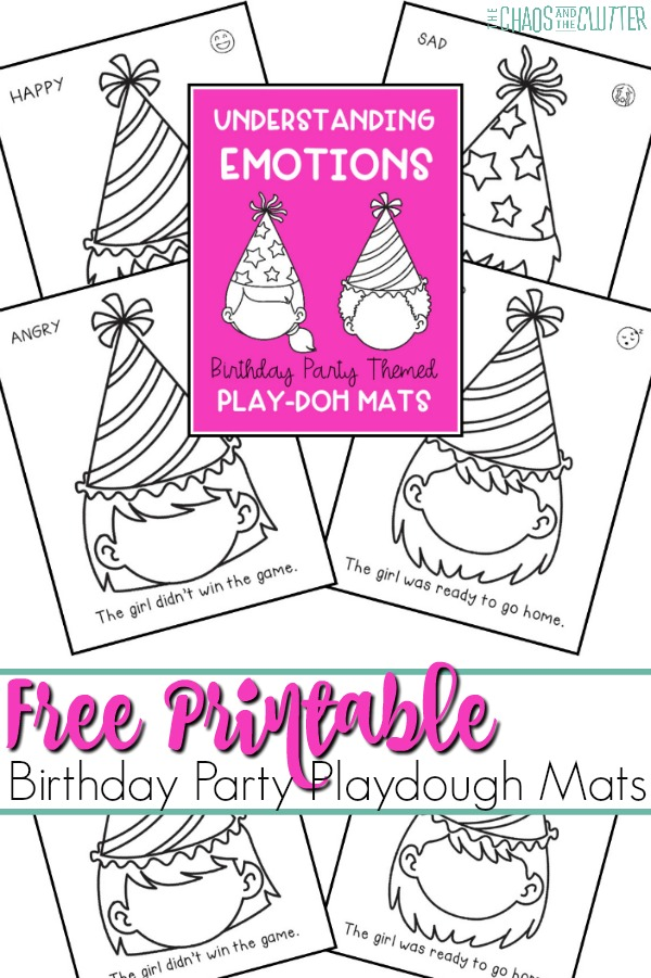 "black and white colouring pages of faces wearing birthday hats. There is a pink rectangle in the center. The text says ""Free printable Birthday Party Playdough Mats"" is overlaid on the image."