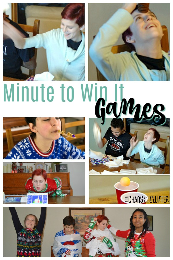 A collage of images of kids and teens playing games at home. The text reads Minute to Win It Games.