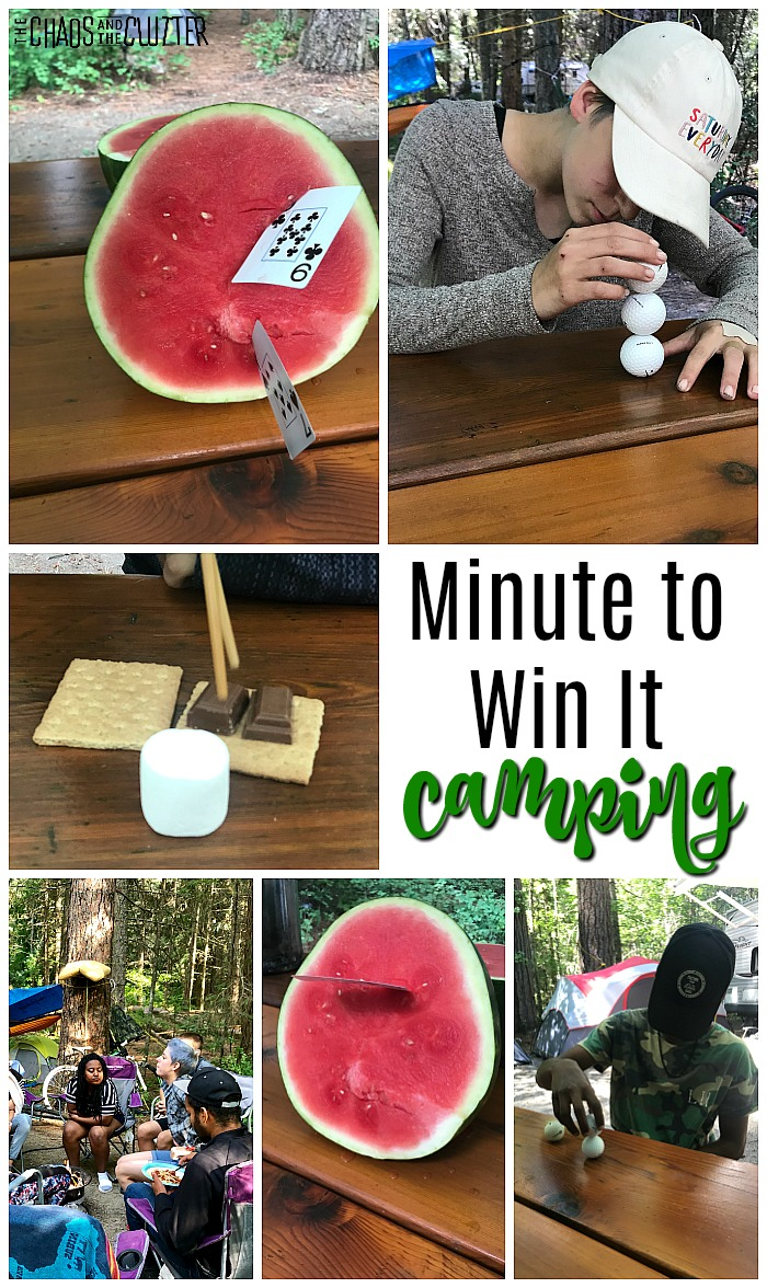 "half a watermelon with a playing card sticking into it, a girl in a white hat stacking golf balls, ingredients for a s'more being assembled with chopstick on a picnic table and text that reads ""Minute to Win It camping"""