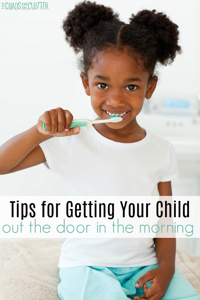 "a cute black girl with her hair in high pigtails wearing a white shirt and teal pants is brushing her teeth. The text reads ""tips for getting your child out the door in the morning"""
