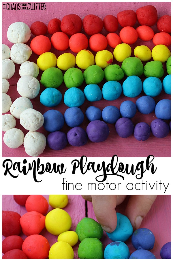 "balls of coloured playdough are lined up to create a rainbow and a cloud with a small hand holding one of the blue balls of dough. The text reads ""Rainbow Playdough fine motor activity"""