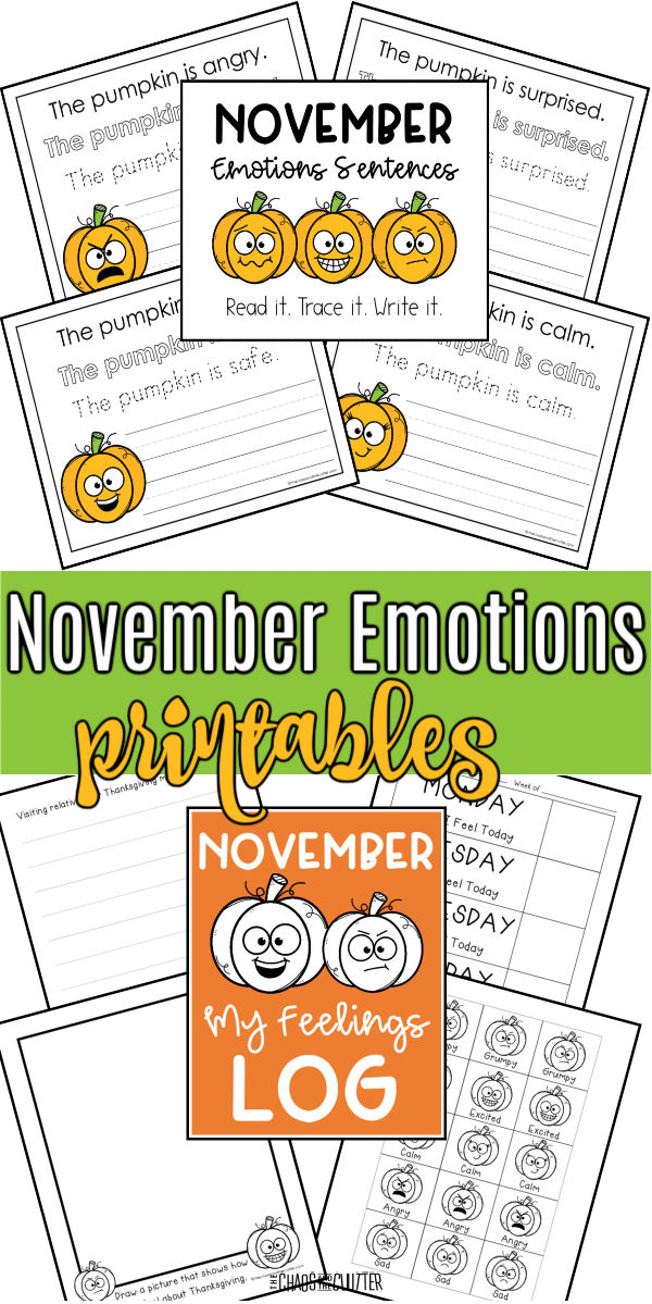 "display of printed worksheets with orange pumpkins. Text reads ""November Emotions printables"""