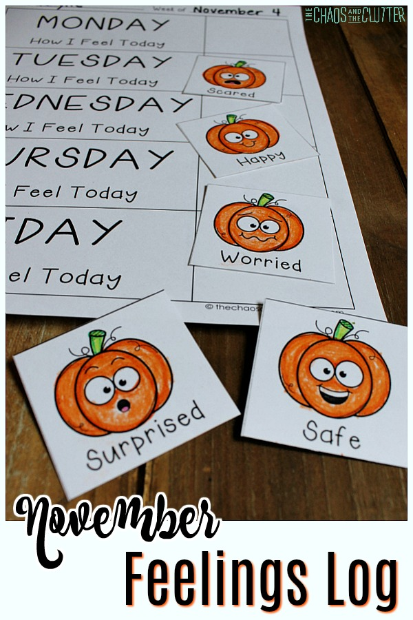 """The days of the week are visible on a paper with coloured pumpkins with different facial expressions. The text reads """"November Feelings Log"""""""
