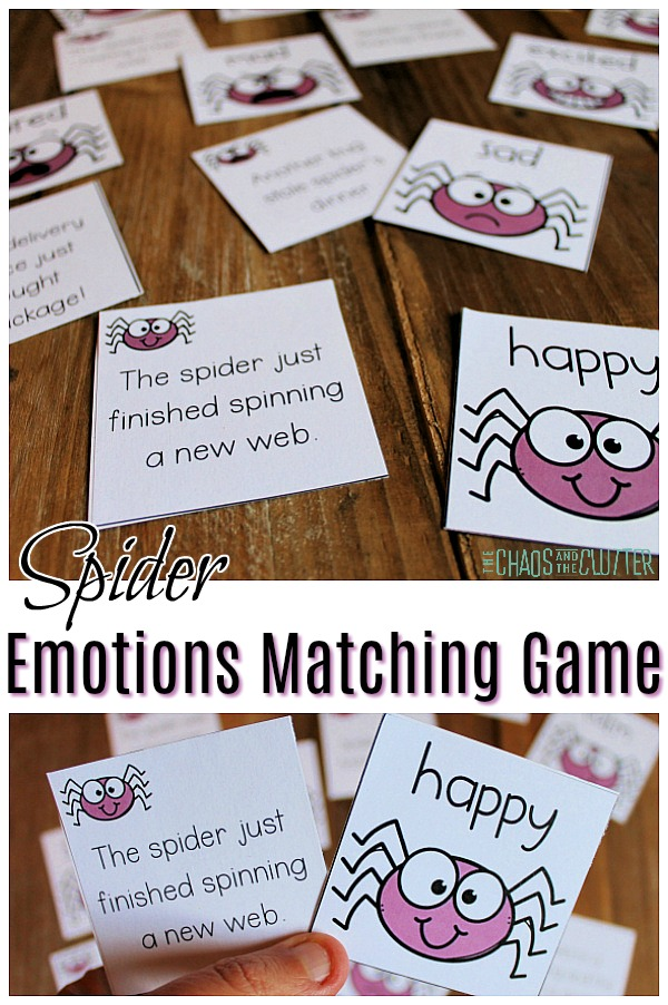 "cards laid out on the floor and two cards held by a small hand. The text reads ""Spider Emotions Matching Game"""