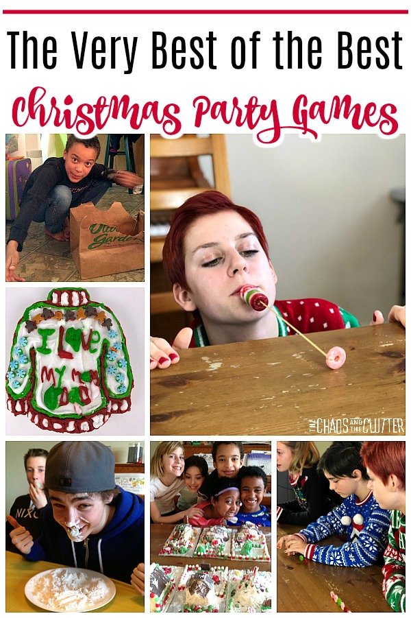 "a collage of images of people playing group party games with text that reads ""The Best of the Best Christmas Party Games"""
