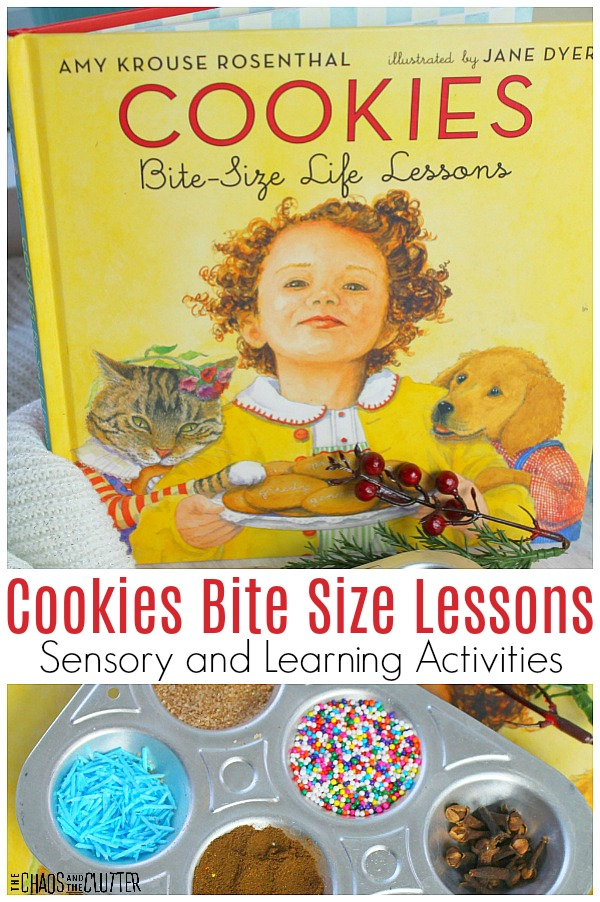 "yellow book cover and a muffin tin of sprinkles and text that reads ""Cookies Bite Size Lessons Sensory and Learning Activities"""