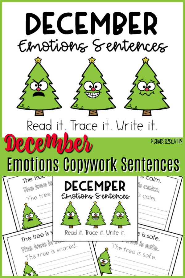 "3 cute little cartoon Christmas trees with facial expressions. The text reads ""December Emotions Copywork Sentences"""