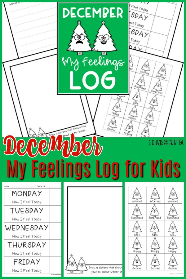 "array of printable sheets with Christmas trees and words text reads ""December My Feelings Log for Kids"""