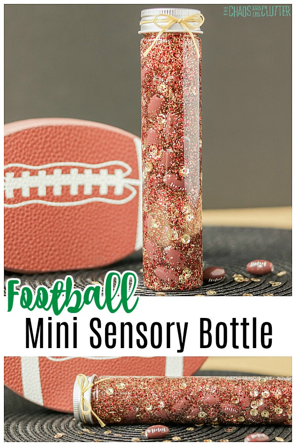 "toy football in the background with a small bottle filled with gold and brown glitter and small footballs with text that reads ""Football Mini Sensory Bottle"""